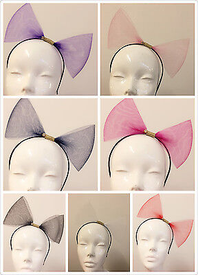 Huge Big Bow Alice Hair Head Band 80s Retro Party Fancy Dress Tulle TUTU Net