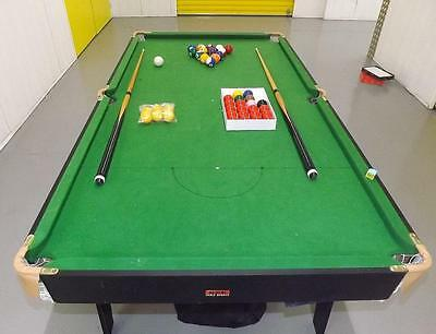 BCE Fold Up 6ft x 3ft Snooker / Pool Table With Balls Cues Great Condition