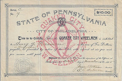 PENNSYLVANIA 1895 Quaker City Wheelmen Stock Certificate Early Cycling Club #7