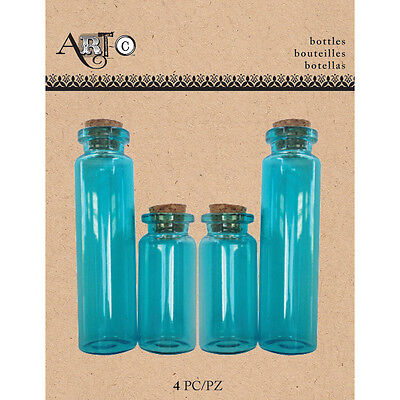 Art C Mini Glass Bottles Blue Apothecary W/Cork 4/Pkg MINBOT-23692