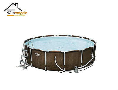 Garden Swimming Pool Above Ground Rattan Effect Full Set Pump,Ladder,Cloth,Cover