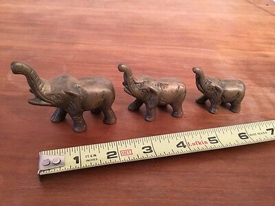 Lot Of 3 VTG Solid Brass ELEPHANT Figurines