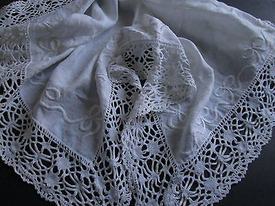 VICTORIAN WHITEWORK TABLECLOTH Hand Embroidered Ribbons Bows Antique Lace 32x32