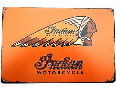 INDIAN MOTORCYCLE (DESIGN 11)  METAL TIN PLATE SIGNS vintage cafe pub garage