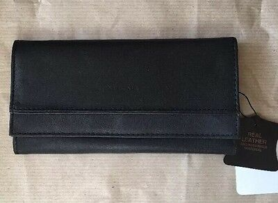 New Ladies Slim purse wallet soft Real leather In BLACK