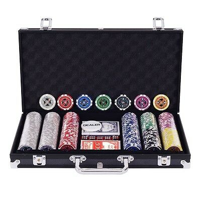 "Poker Chip Set 300 Chips Texas Holdem Cards Gamble Table Game Black 15.2"" Case"