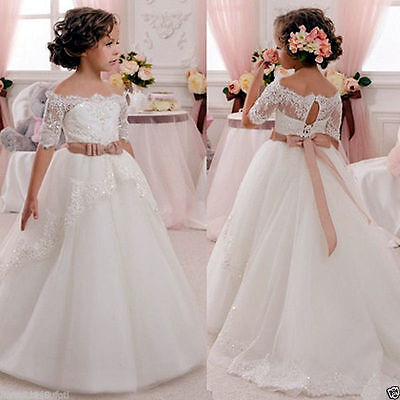 Girl Communion Party Prom Princess Pageant Bridesmaid Wedding Flower Girl Dress!