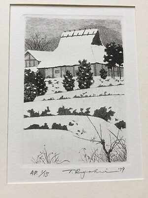 TANAKA RYOHEI - 1979 Snow Scene 1/15 A.P. Org Hand Signed & Numbered Etching