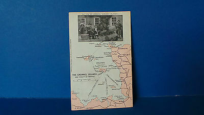 Jersey Channel Islands Postcard Map of Jersey & France + Natives of Jersey 1906