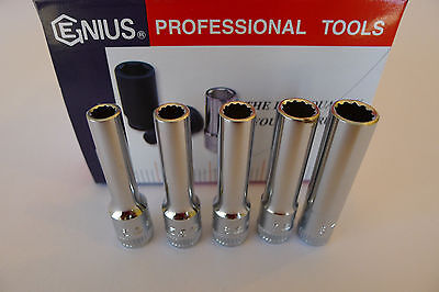 "Genius Tools 1/4"" Drive Metric Deep Hand Socket 5mm to 14mm - 12 point - CAD"