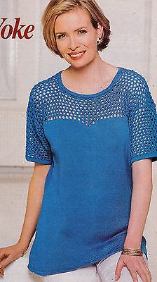 Top With Open Work Yoke Pattern For Machine Knitting