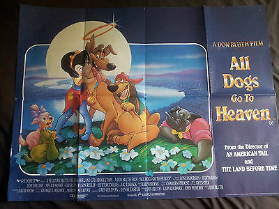 """ALL DOGS GO TO HEAVEN QUAD FILM - POSTER - 40"""" x 30"""" - landscape - folded - 1989"""