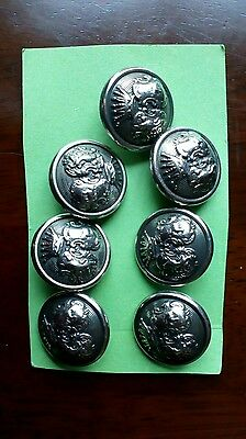 7 Military/Vintage/Royal Style Dark Silver Coloured Crown Pattern Metal Buttons