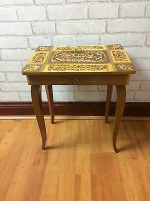 Vintage Musical Italian Wooden Marquetry Table Sewing / Jewellery / Storage