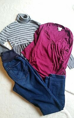 Womens Maternity Lot 3 pc Old Navy Motherhood Shirt Top Jeans Ruched Large Fall