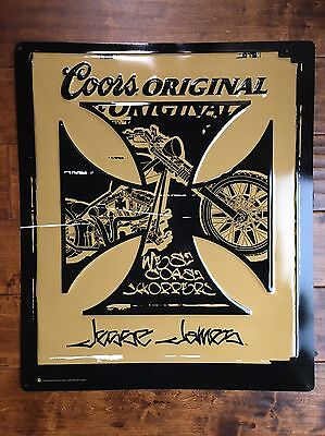 Rare & New! Coors / West Coast Choppers Jesse James Metal Sign