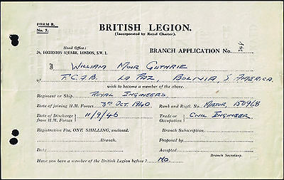 MILITARY WAR BRITISH LEGION GB UK IN CHILE 25 BRANCH APP.  8 DIFF. FORMS rare!!