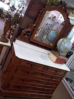 RARE Unique Antique Walnut Marble Top Dresser and Mirror