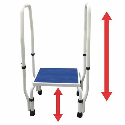 Disability Safety Deluxe Step Foot Stool Dual Handle Handrail Height Adjustable
