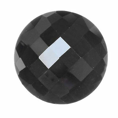 13mm Round Natural Black Hematite Faceted Checkerboard Top Flat Bottom Gemstone