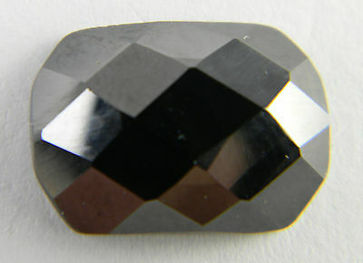 14mm x 10mm Cushion Black Hematite Faceted Checkerboard Top Flat Bottom Gemstone