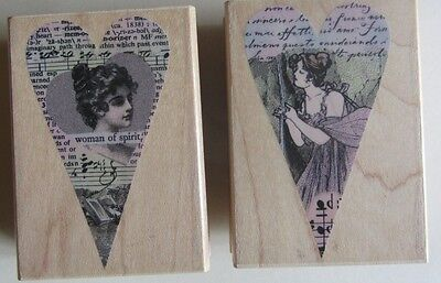 Hero Arts Wood Mounted Heart Shaped Rubber Stamps x 2