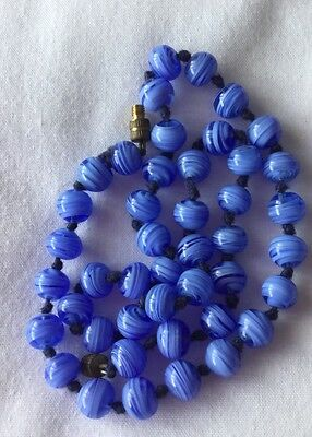 Vintage 70s Murano Blue Glass Beads 18 Ins Long