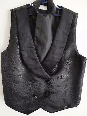 Boys Black Formal Double Breasted Damask Vest w/ Cravat Victorian Wedding 8 - 11