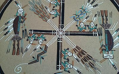 Native american indian sand painting  whirling log w/ four ways plants