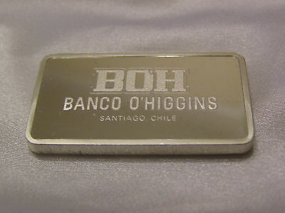 SOLID SILVER INGOT BANCO O'HIGGINS from SANTIAGO CHILE FAMOUS BANK OF THE WORLD