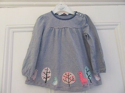 18-24m: Pretty tunic top: Blue/white stripes +applique trees/animals: John Lewis