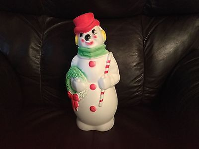 """Vintage 1968 CHRISTMAS Light Up Blow Mold SNOWMAN Empire Plastic Corp. 13"""" Tall"""