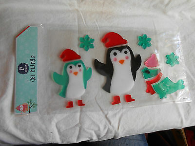 NEW Christmas Winter Penguins Seal Snowflakes Decoration Gel Window Clings 17 pc