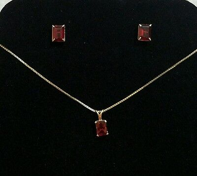 14K Yellow Gold  Ruby Necklace & Earrings Set