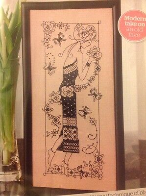 (B) Blackwork Lady Flowers And Butterflies Cross Stitch Chart