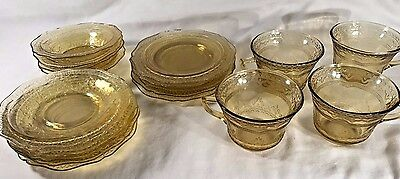 Lot of Federal Madrid & Patrician Spoke Yellow / Amber Depression Glass pieces
