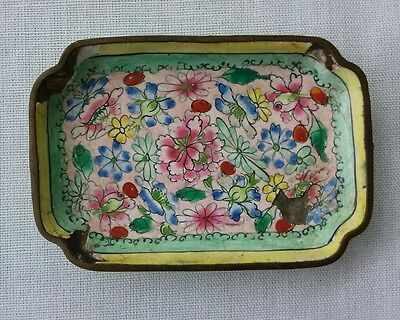 ANTIQUE Enameled Cloisonne small BRASS Tray Hand Painted Green Yellow CHINA