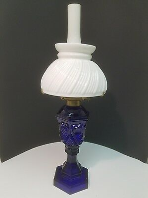 Cobalt Blue Oil Lamp with Milk Glass Chimney