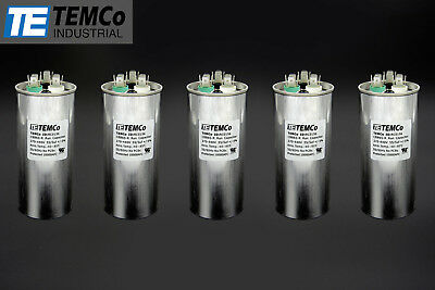 TEMCo 55/5 MFD uF Dual Run Capacitor 370 440 vac Volts 5 LOT AC Motor HVAC 55+5