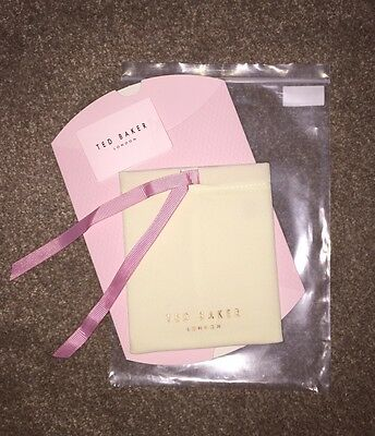 Ted Baker Pink Jewellery Velvet Pouch and Pop Up Box/ Gift Bag