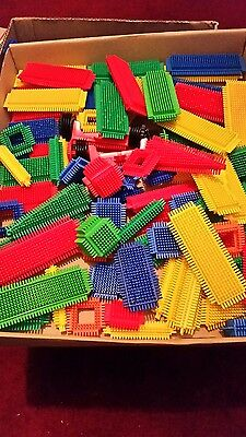 Assorted Stickle Bricks 95 Pieces and 2 sets of wheels  Excellent Used Condition