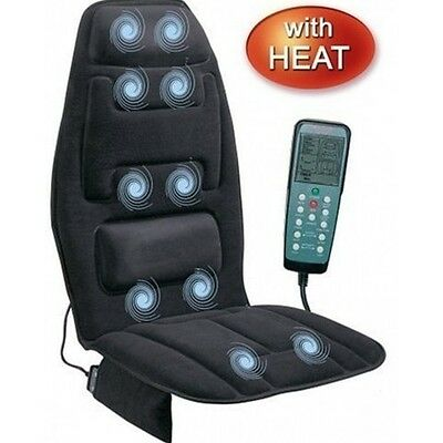Heated Back Massage Chair Cushion Massager Car Seat Home Pad Pain Lumbar Neck