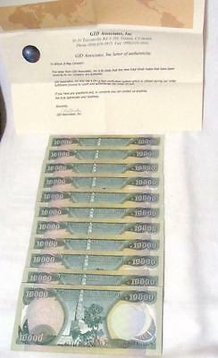 500,000 New Iraqi Dinars (50 x 10,000) IQD Uncirculated Mint + Certificate