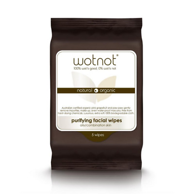 Wotnot Natural Makeup Removal Facial Wipes For Oily/Sensitive Skin 5 pk