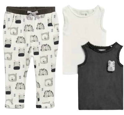 NEXT Girls Outfit Set Vests Joggers Trousers Grey Zebra  3-6 Months BNWT Summer