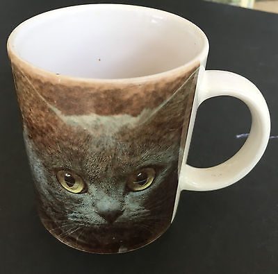 "CAT COFFEE MUG CUP Gray Feline Ceramic ""A Cat is A Person"" Mugsy Peabody"