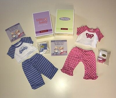 NIB Complete Retired Bitty Baby Twins Butterfly & Car Pajamas Set NEW Boy Girl