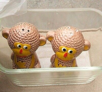 Antique Monkey Twins Salt & Pepper Shakers from old JAPAN