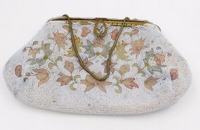 Vintage Pearl Beaded 60s Style Made in Japan Evening Bag Purse Clutch LOT of 2