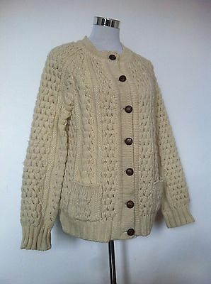 Womens Slieve League Ireland Wool Hand Made Cable Knit Aran Cardigan / Size M